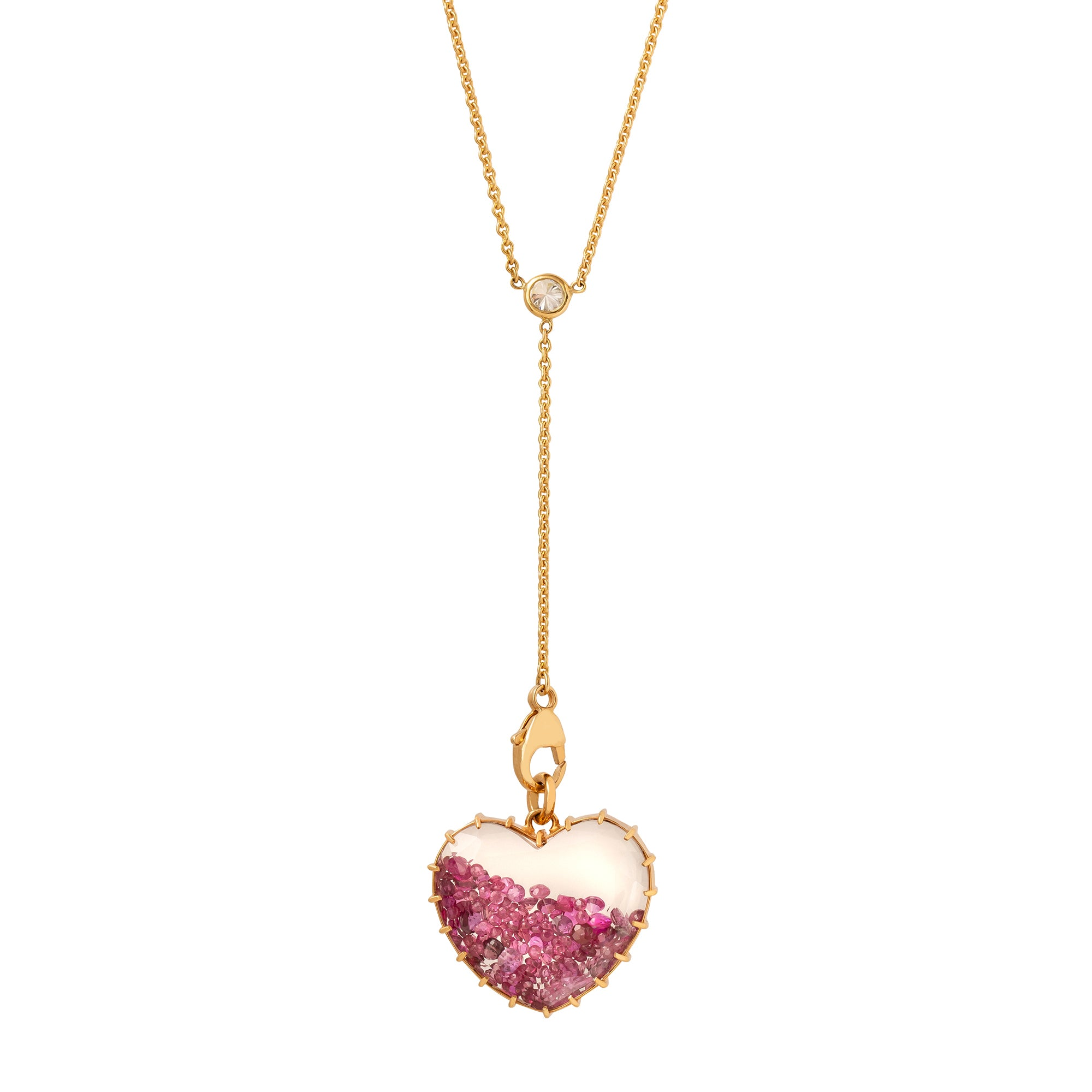 Renee Lewis Heart Shake Necklace - Ruby - Necklaces - Broken English Jewelry