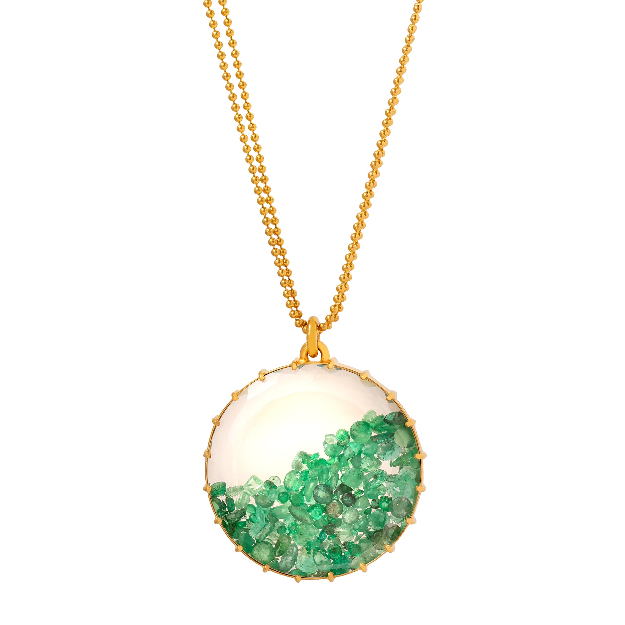 Renee Lewis Round Shake Necklace - Emerald - Necklaces - Broken English Jewelry