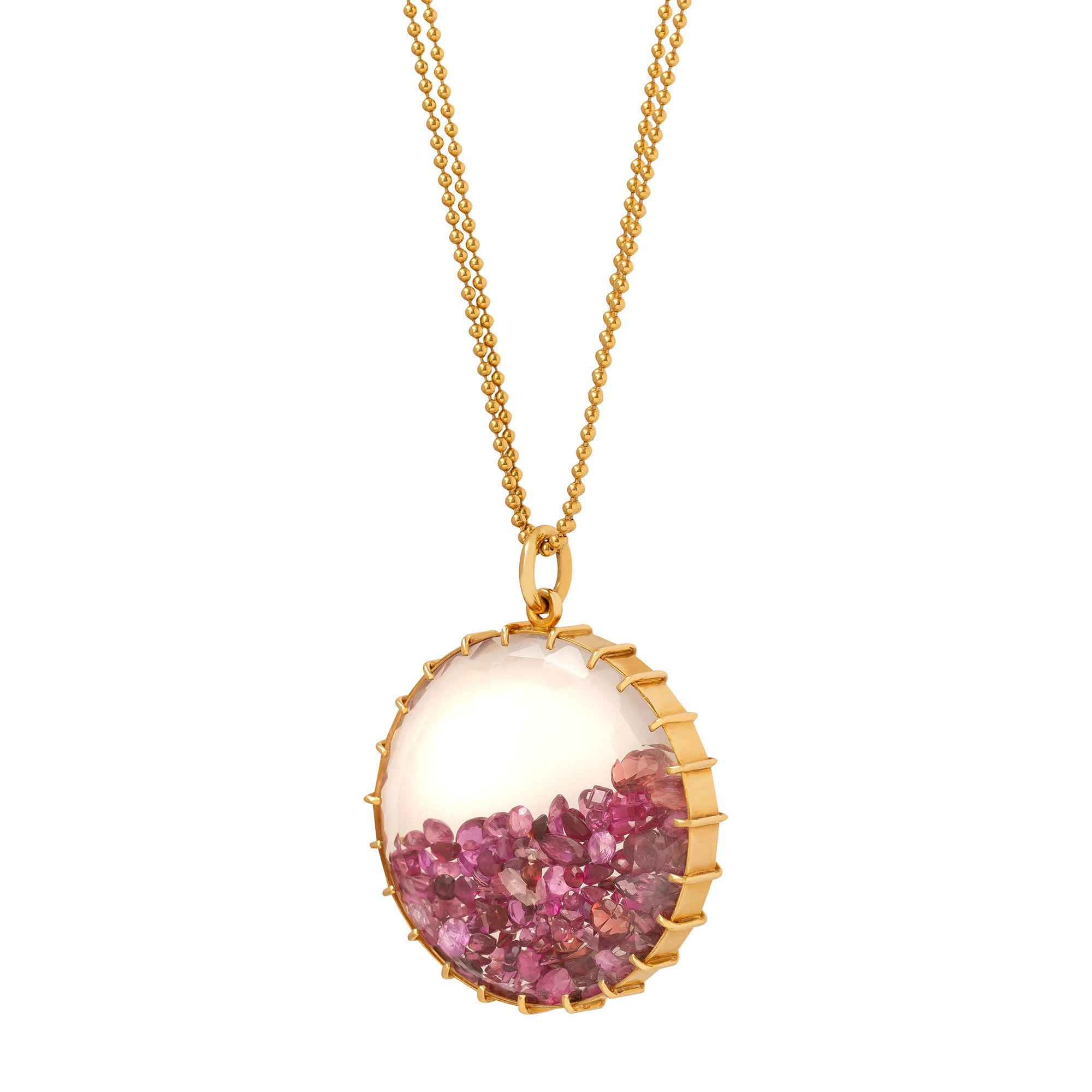 Renee Lewis Round Shake Necklace - Pink Sapphire & Ruby - Necklaces - Broken English Jewelry