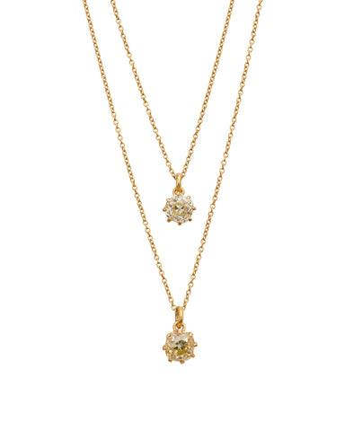 Two Cushion Cut Diamond Necklace by Renee Lewis for Broken English Jewelry
