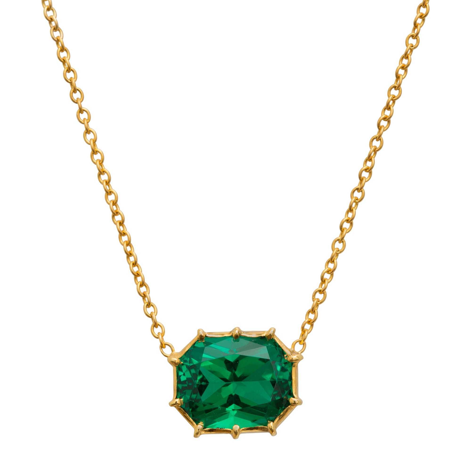 Synthetic Emerald Necklace by Renee Lewis for Broken English Jewelry