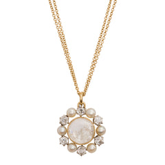 Natural Pearl and Antique Diamond Necklace by Renee Lewis for Broken English Jewelry