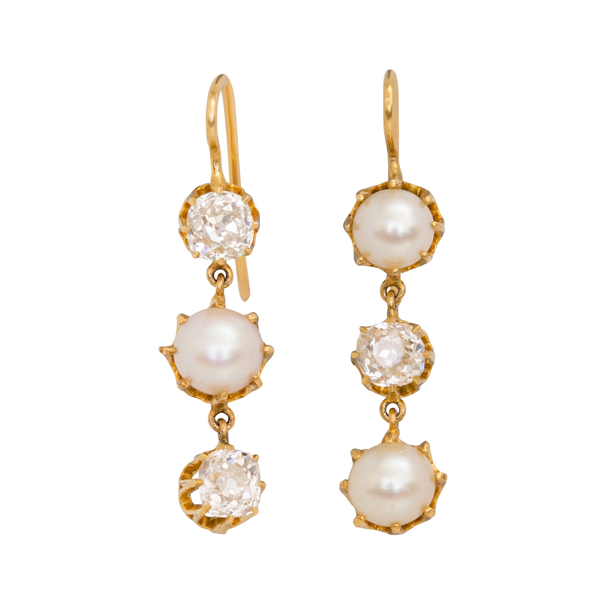 Pearl and Diamond Earrings by Renee Lewis for Broken English Jewelry
