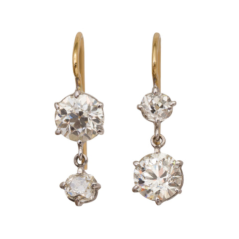 Antique Cushion Cut Diamond Earrings by Renee Lewis for Broken English Jewelry