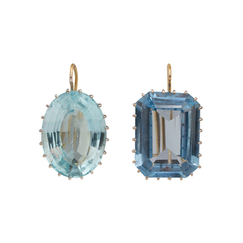 Aqua and Synthetic Sapphire Earrings by Renee Lewis for Broken English Jewelry