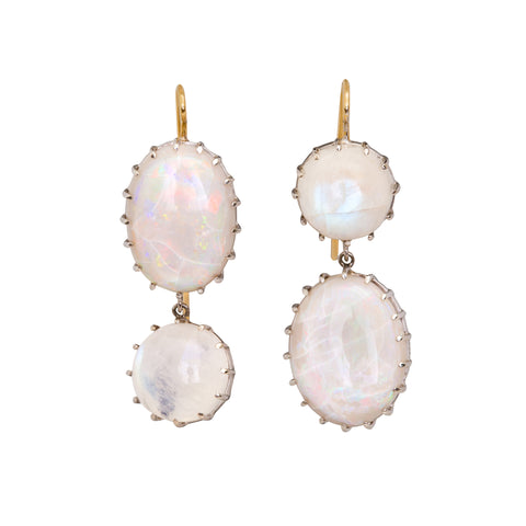 Moonstone and Opal Earrings by Renee Lewis for Broken English Jewelry