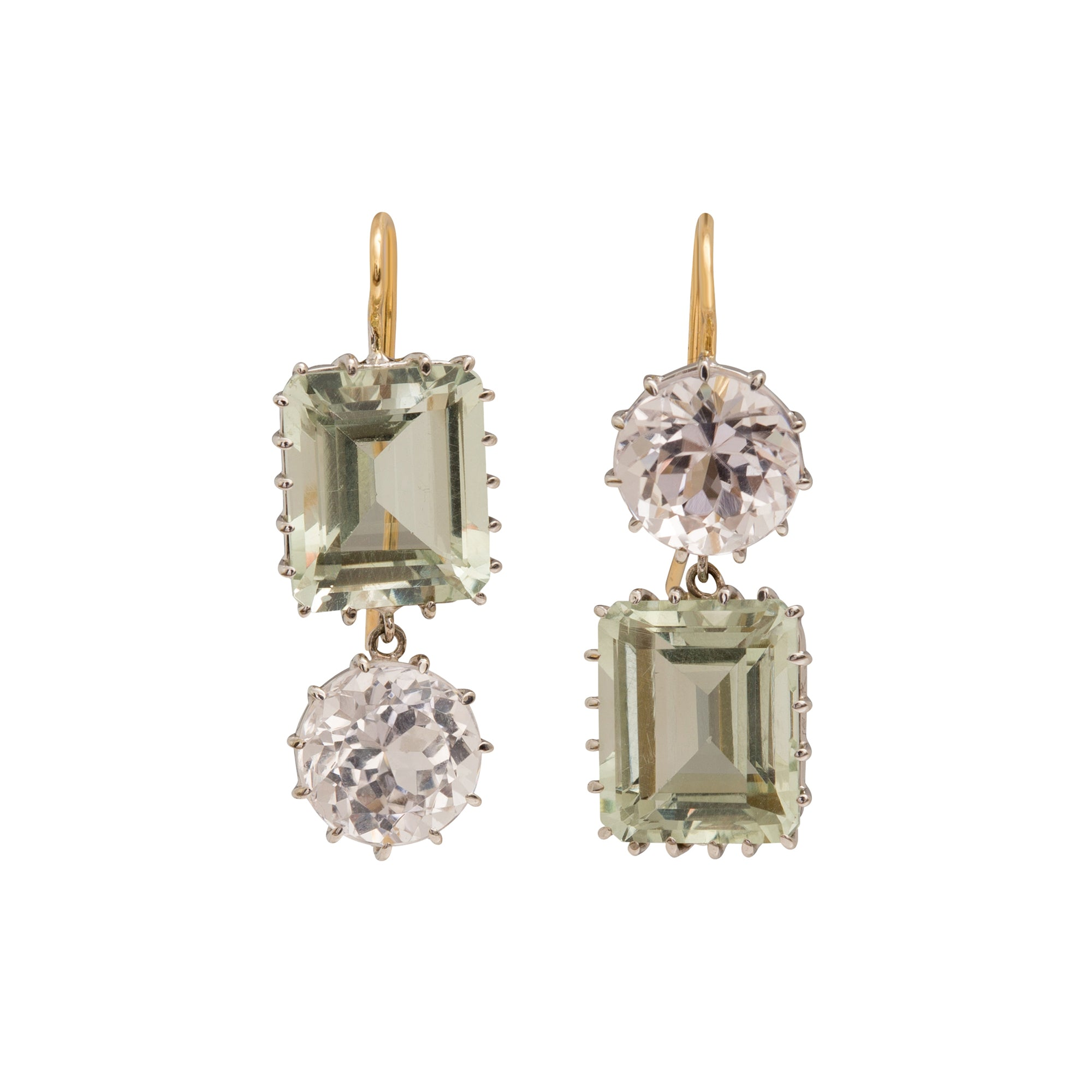 Feldspar and Synthetic Diamond Earrings by Renee Lewis for Broken English Jewelry
