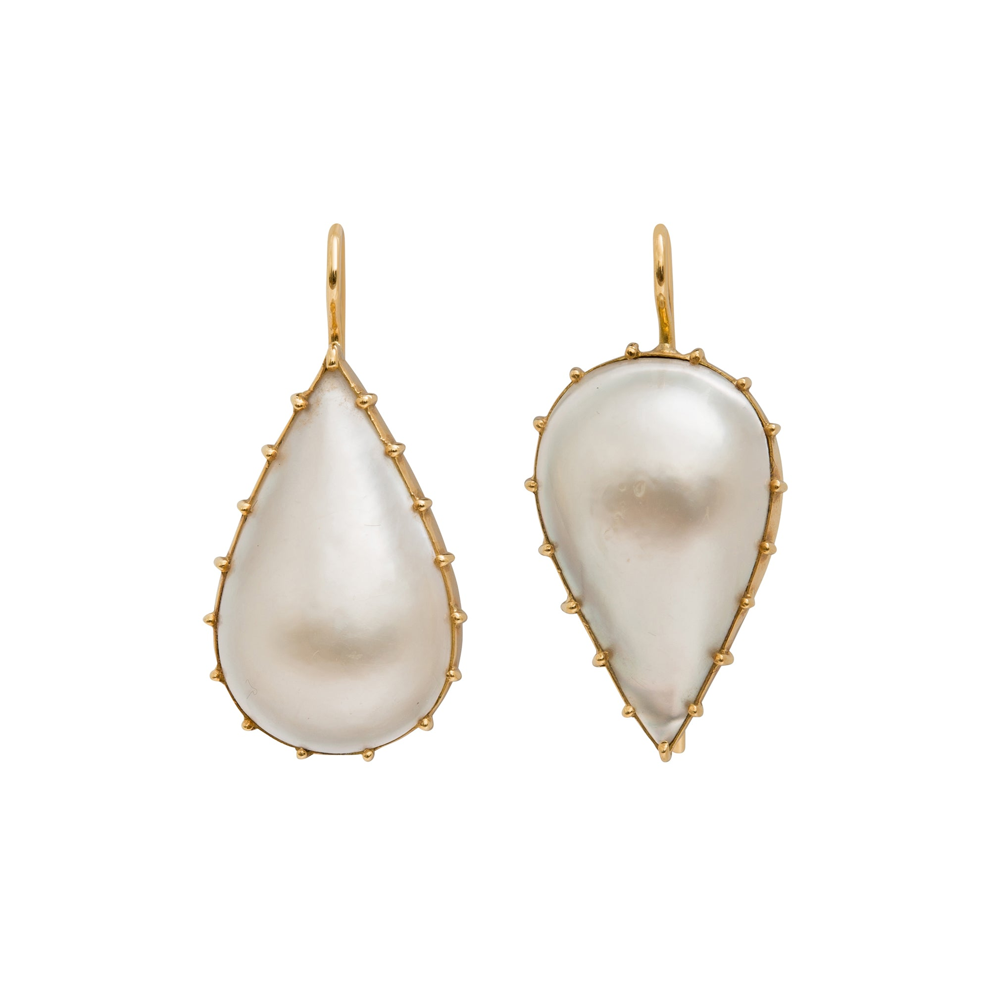 Mabe Pearl Earrings by Renee Lewis for Broken English Jewelry