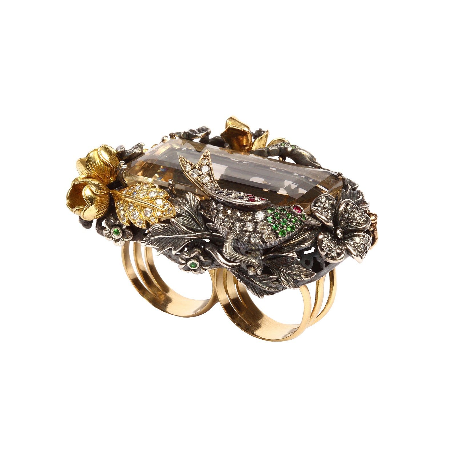 Aida Bergsen Double Finger Bird & Fauna Ring - Quartz - Rings - Broken English Jewelry