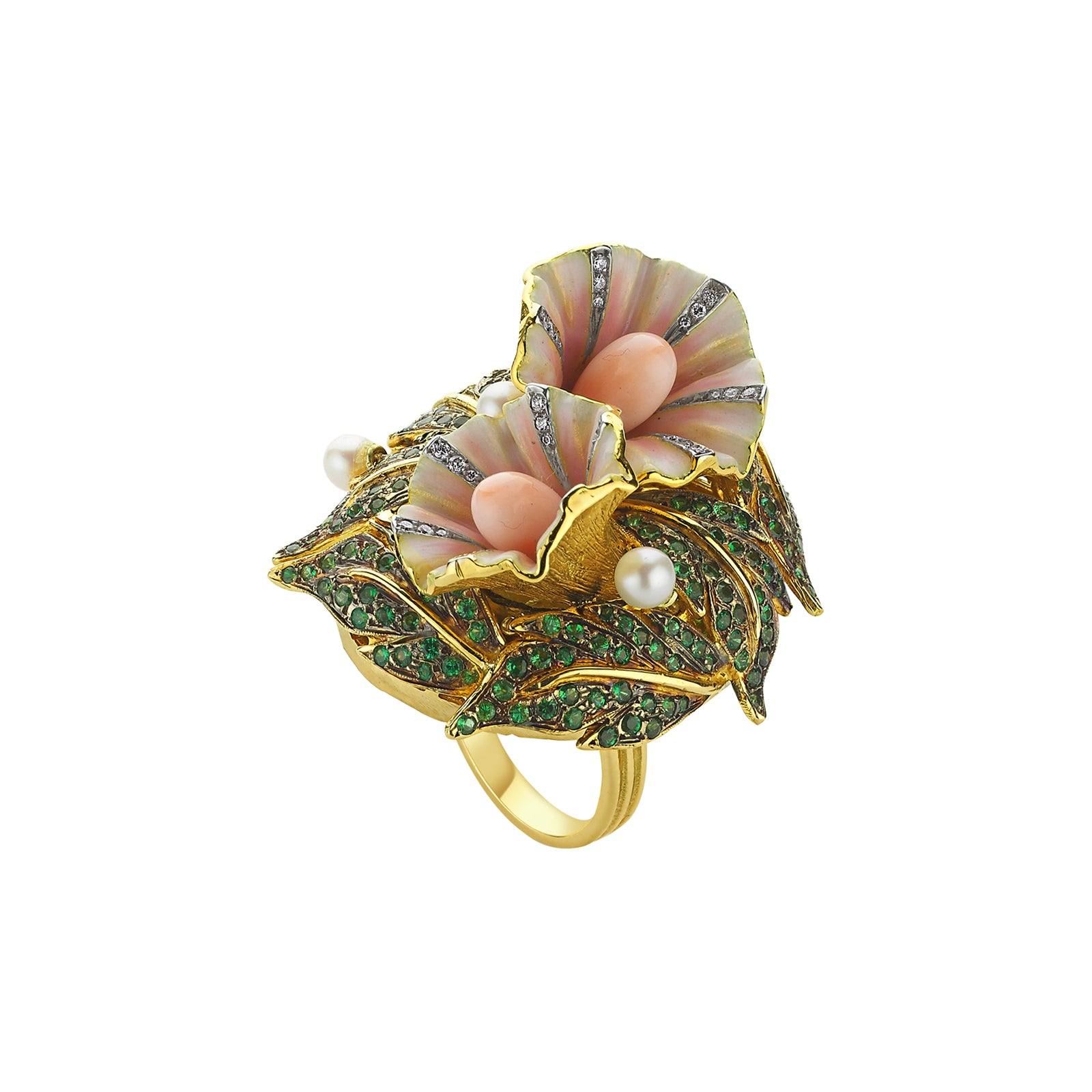 Aida Bergsen Convolvulus Ring - Green Garnet - Rings - Broken English Jewelry