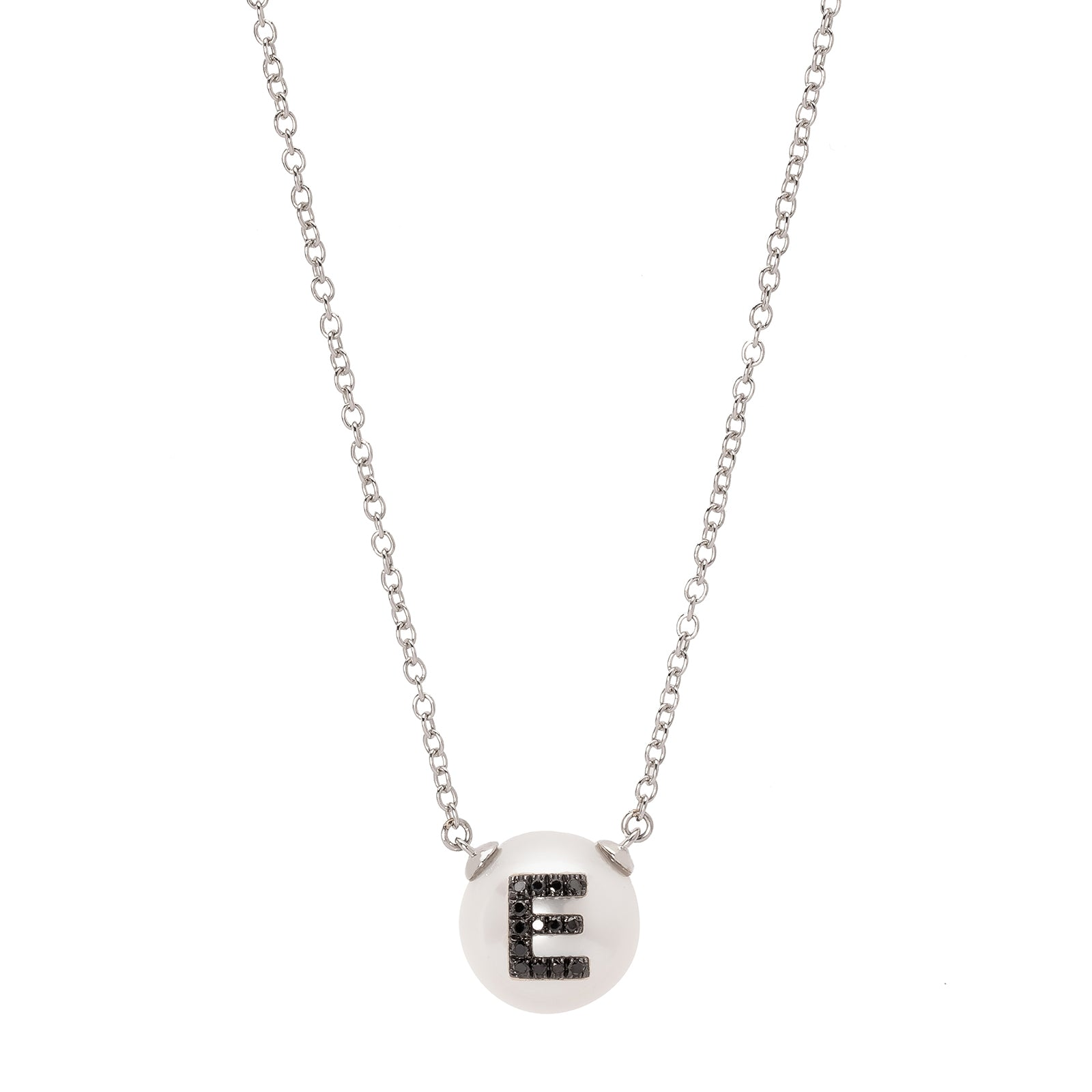 W.Rosado Pearl Black Diamond ID Necklace - Letter E - Necklaces - Broken English Jewelry