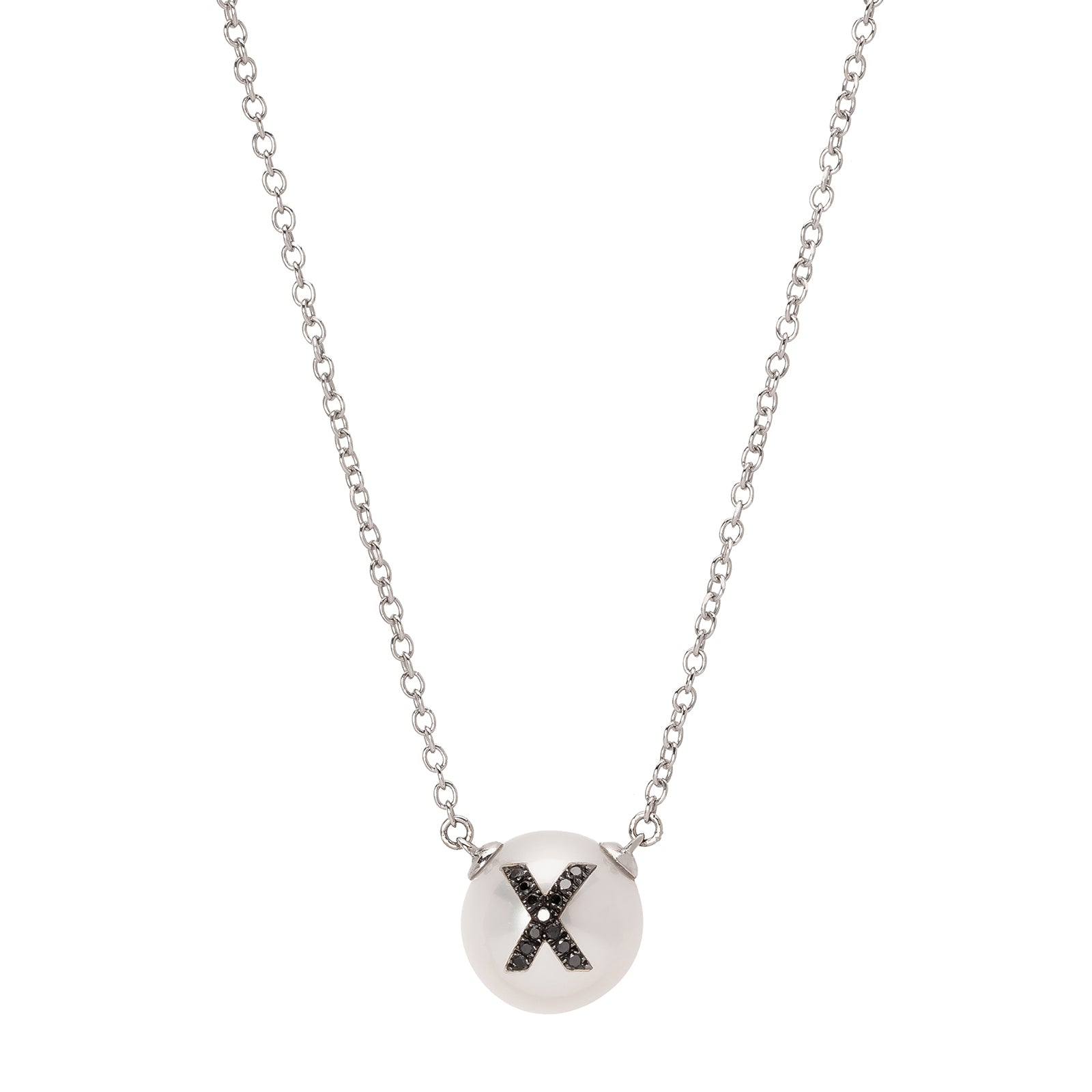 W.Rosado Pearl Black Diamond ID Necklace - Letter X - Necklaces - Broken English Jewelry