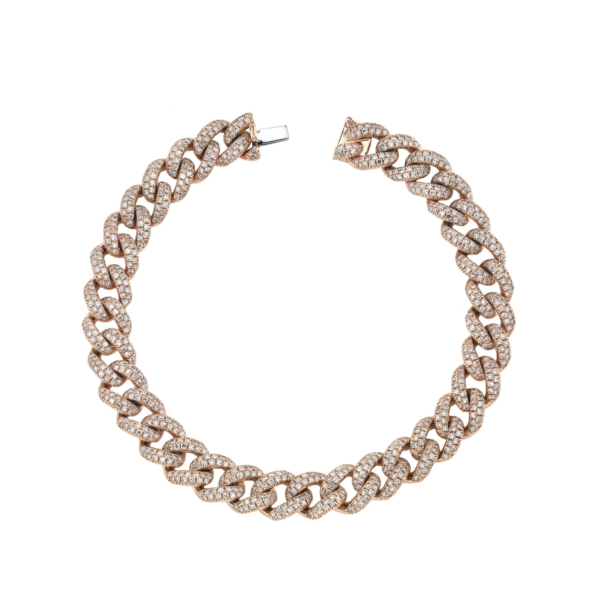 Rose Gold Medium Pave Link Bracelet - Shay - Bracelets | Broken English Jewelry