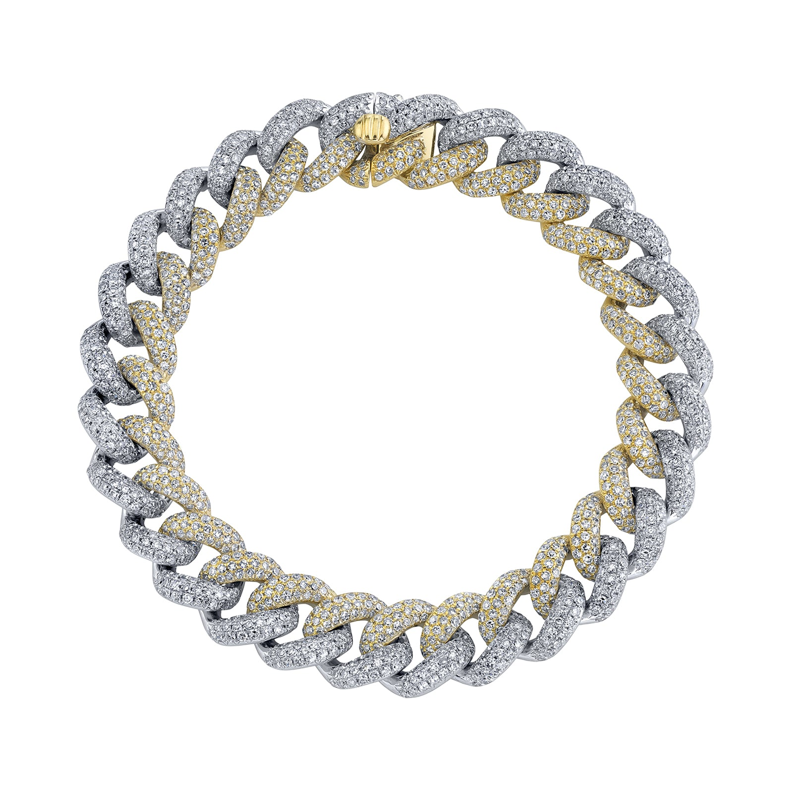 Shay Two Tone Pave Diamond Link Bracelet - Bracelets - Broken English Jewelry