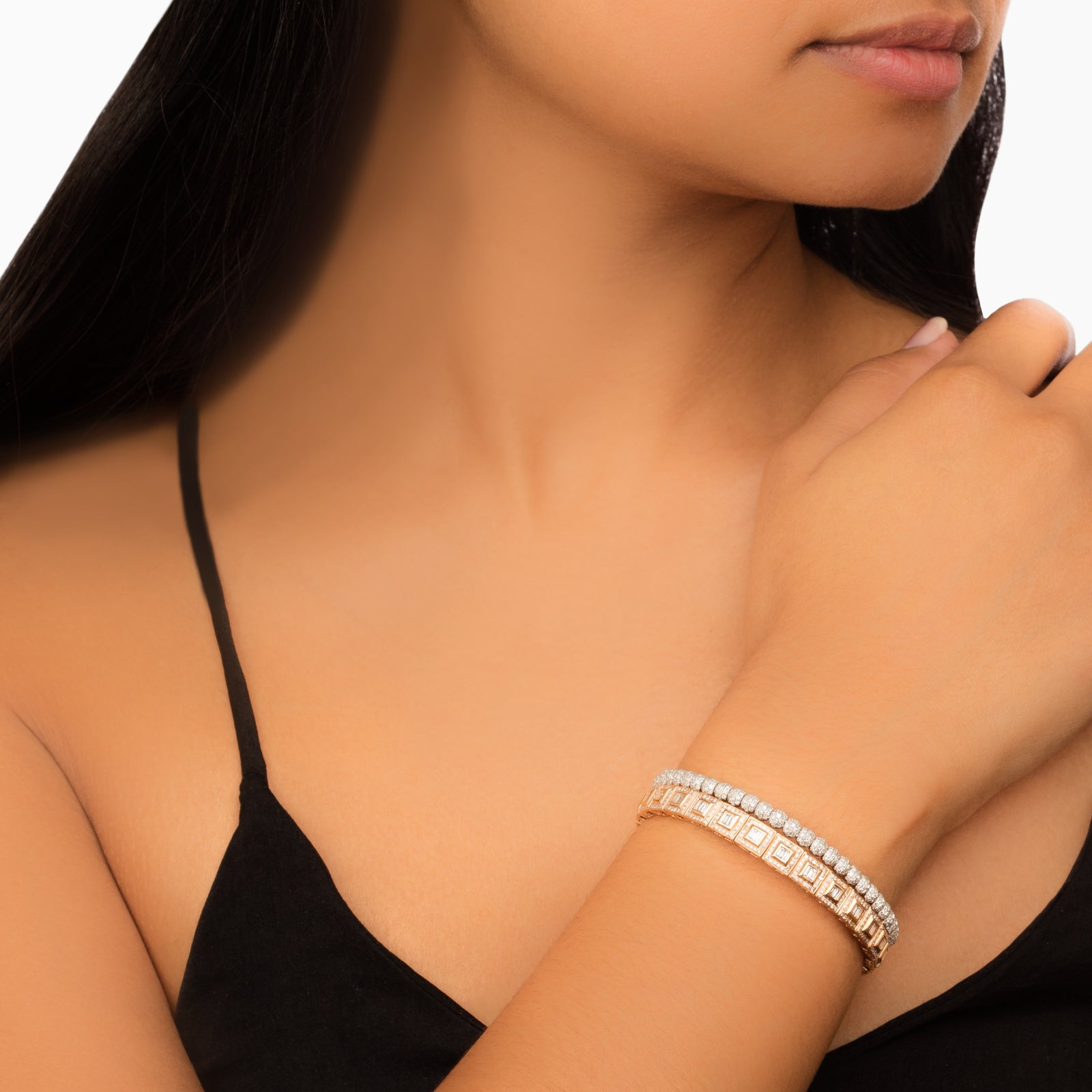 Pave Baguette Square Stretch Bracelet - Shay - Bracelets | Broken English Jewelry