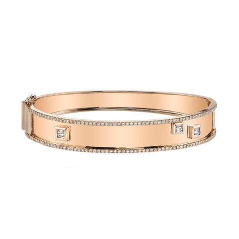 Nameplate Bangle with Baguette Diamonds - Shay - Bracelets | Broken English Jewelry