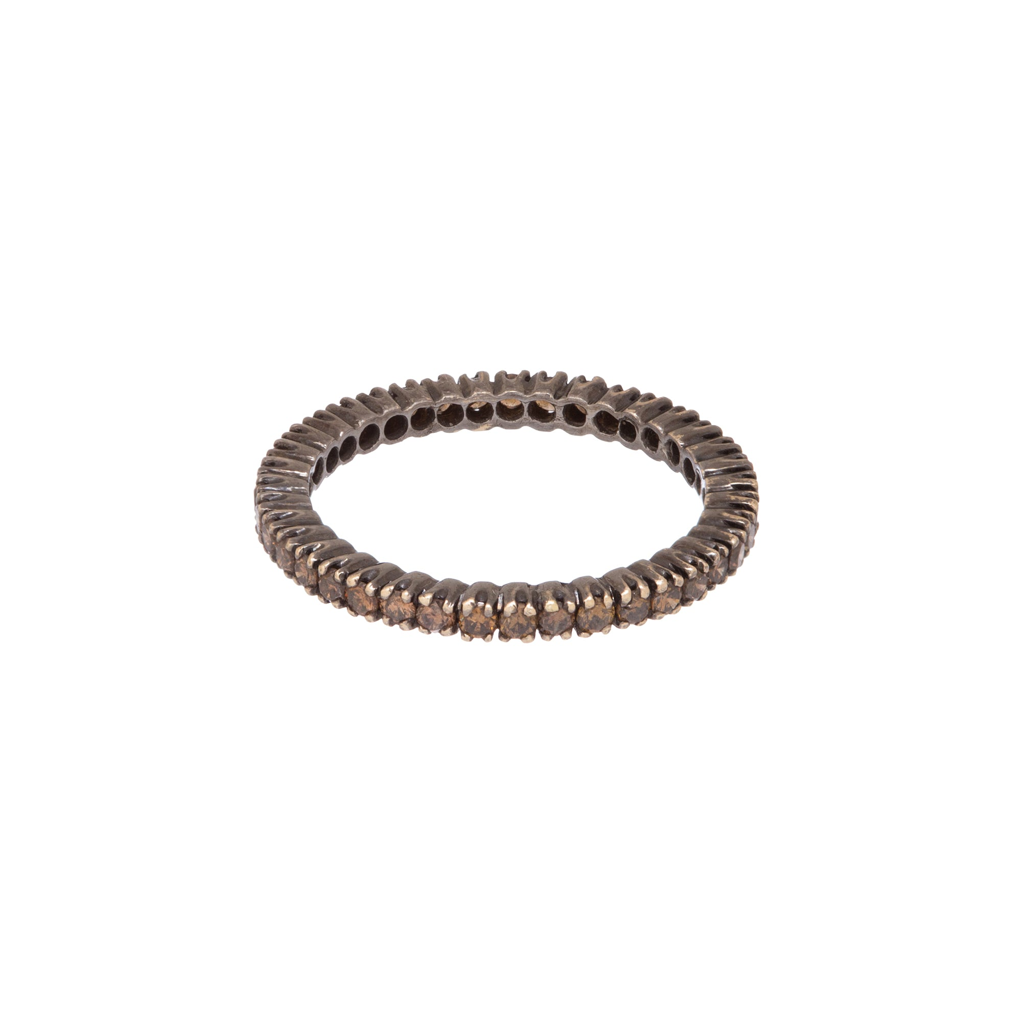 Black Rhodium Brown Diamond Prong Band