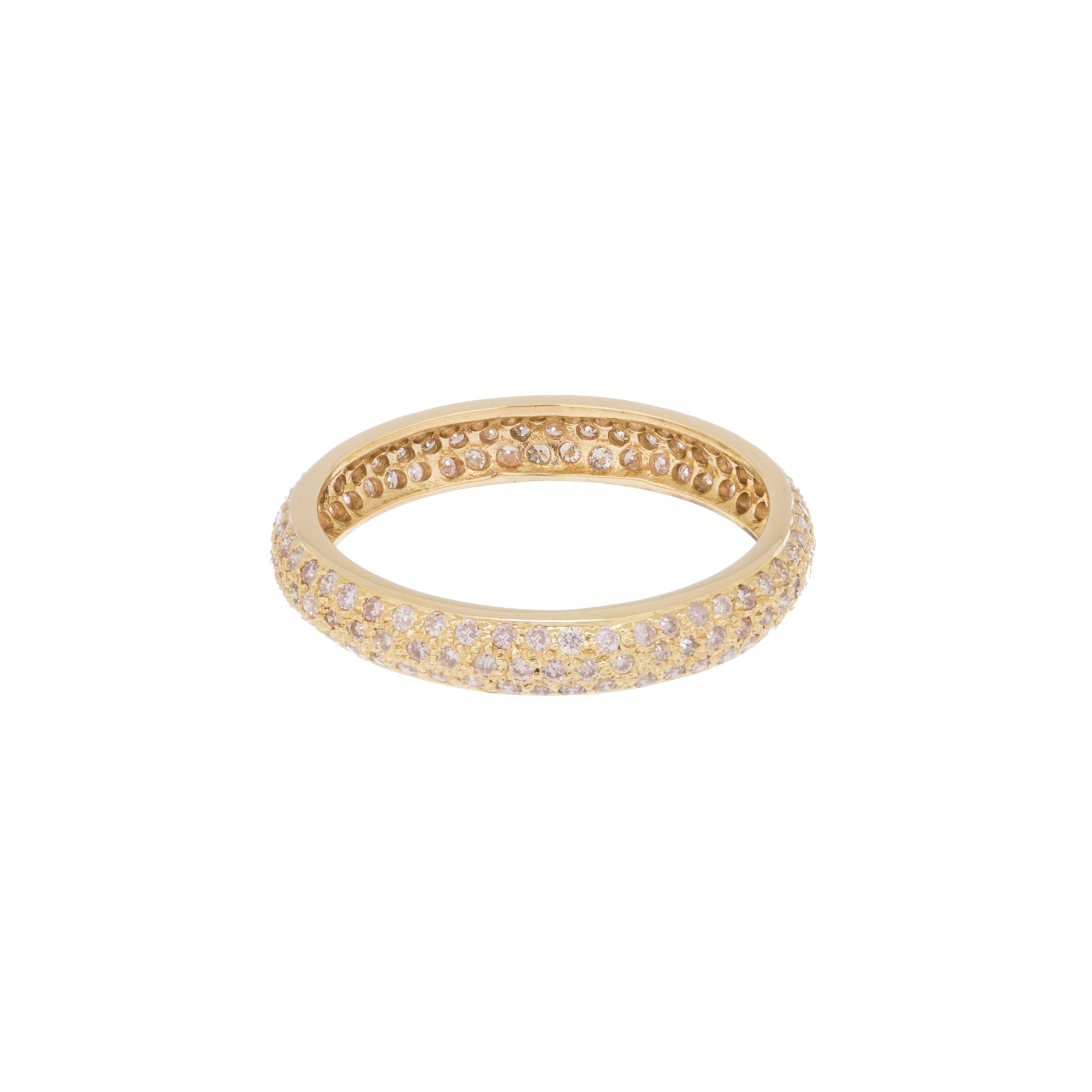 White Diamond Yellow Gold Tire Band by Sethi Couture for Broken English Jewlery