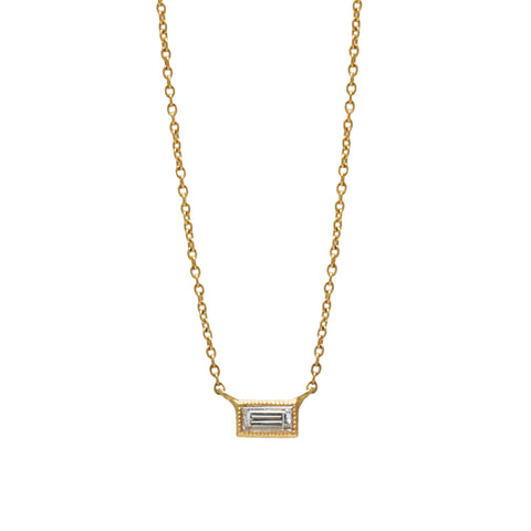 Gold White Diamond Single Baguette Necklace by Sethi Couture for Broken English Jewlery
