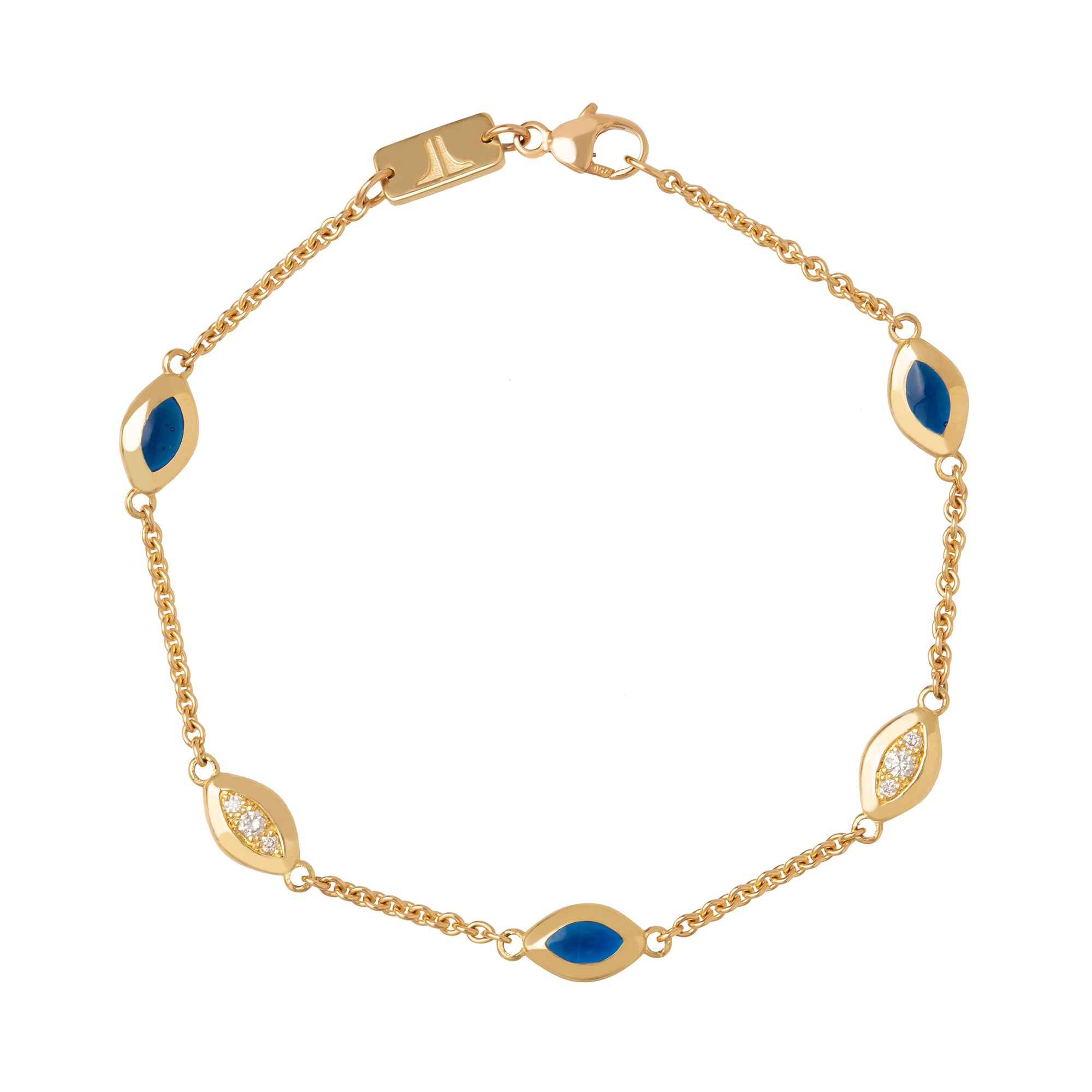 Five Link Bracelet with Diamonds and Blue Enamel - ANDY LIF Jewelry - Bracelets | Broken English Jewelry