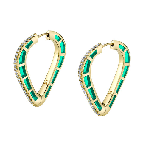 Cobra Hoops with Diamond Pave and Green Enamel - ANDY LIF Jewelry - Earrings | Broken English Jewelry