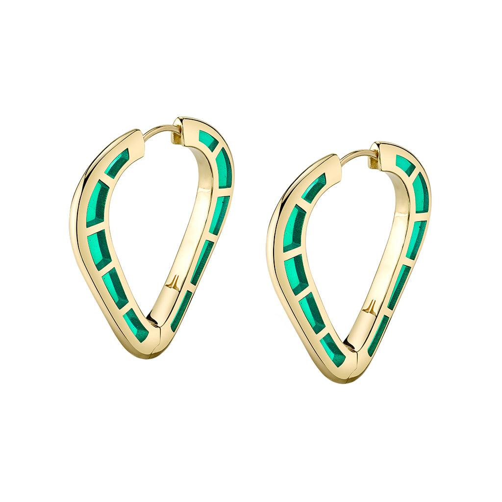 Cobra Hoops with Green Enamel - ANDY LIF Jewelry - Earrings | Broken English Jewelry