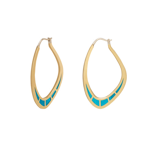 Cica Hoops with Light Blue Enamel - ANDY LIF Jewelry - Earrings | Broken English Jewelry