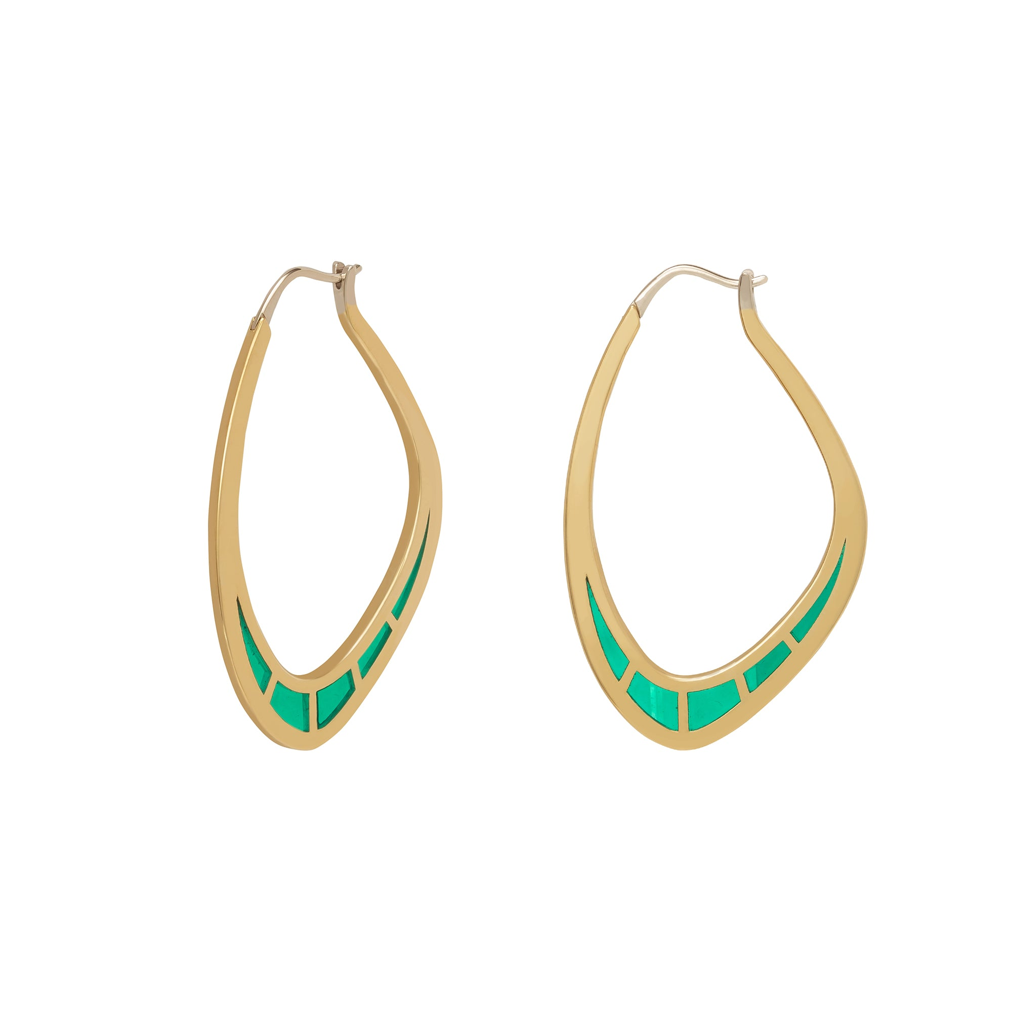 Cica Hoops with Green Enamel - ANDY LIF Jewelry - Earrings | Broken English Jewelry