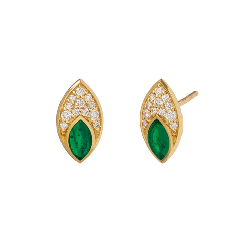 Marquis Stud with Diamond Pave and Green Enamel - ANDY LIF Jewelry - Earrings | Broken English Jewelry