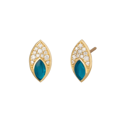 Marquis Studs with Diamond Pave and Light Blue Enamel - ANDY LIF Jewelry - Earrings | Broken English Jewelry