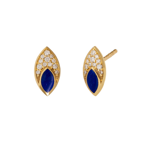Marquis Stud with Diamond Pave and Lapis Inlay - ANDY LIF Jewelry - Earrings | Broken English Jewelry