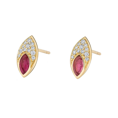 Marquis Studs with Diamond Pave and Pink Tourmaline Inlay - ANDY LIF Jewelry - Earrings | Broken English Jewelry