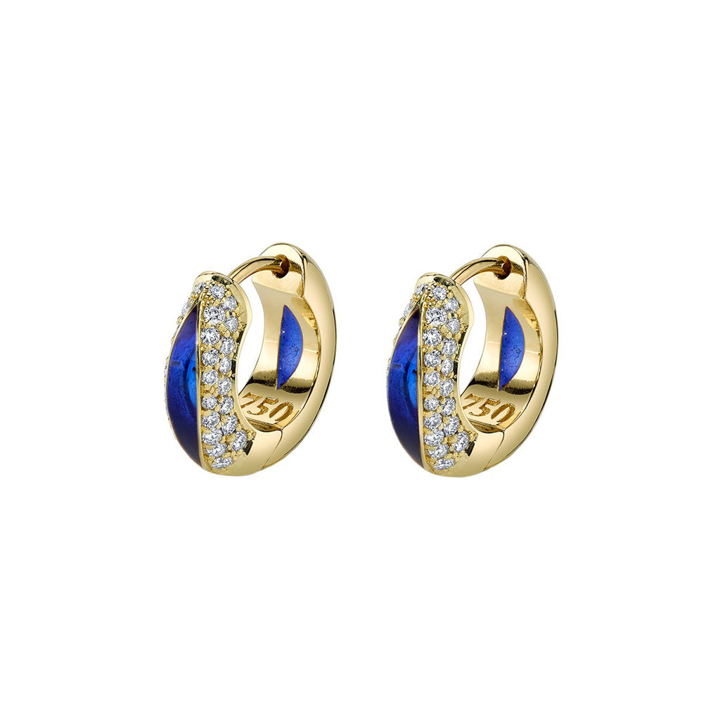 The Perfect Huggie with Diamond Pave & Blue Enamel - ANDY LIF Jewelry - Earrings | Broken English Jewelry