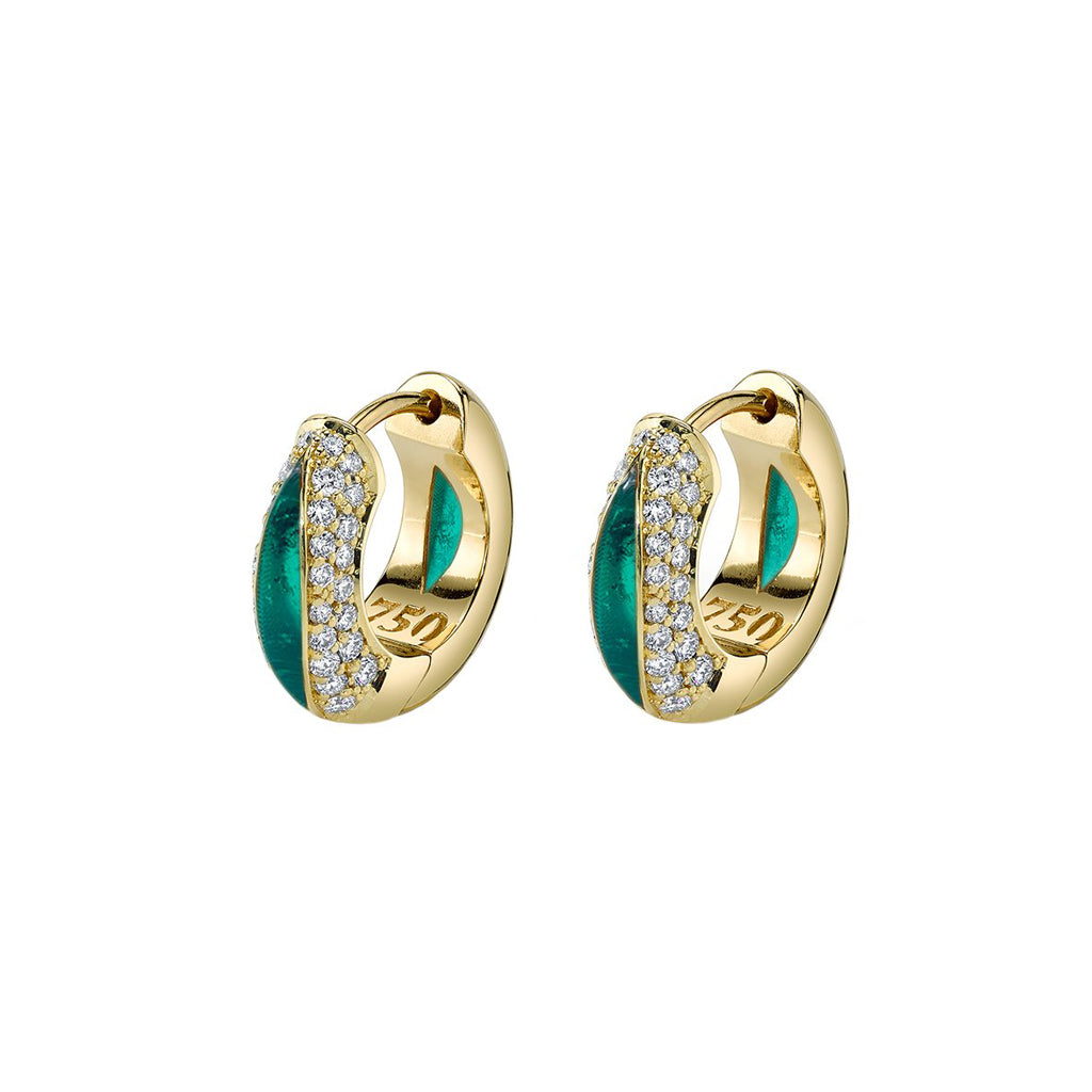 The Perfect Huggie with Diamond Pave & Green Enamel - ANDY LIF Jewelry - Earrings | Broken English Jewelry
