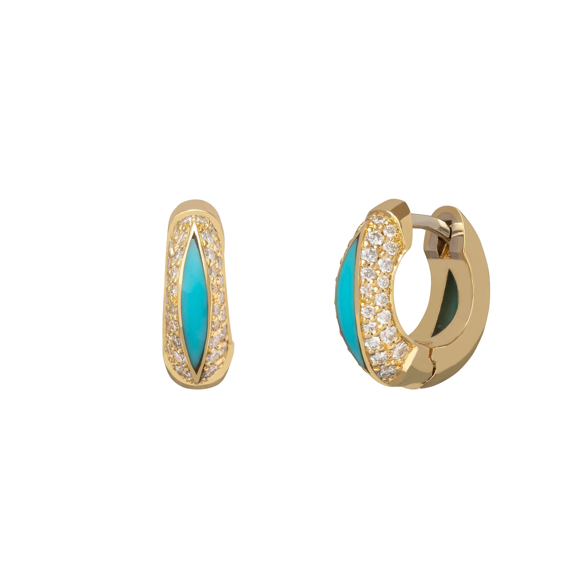 Andy Lif Jewelry The Perfect Huggie Diamond Earrings Turquoise