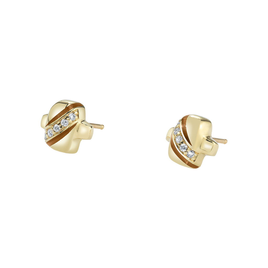 Mimi Stud with Diamond Pave and Cognac Enamel - ANDY LIF Jewelry - Earrings | Broken English Jewelry