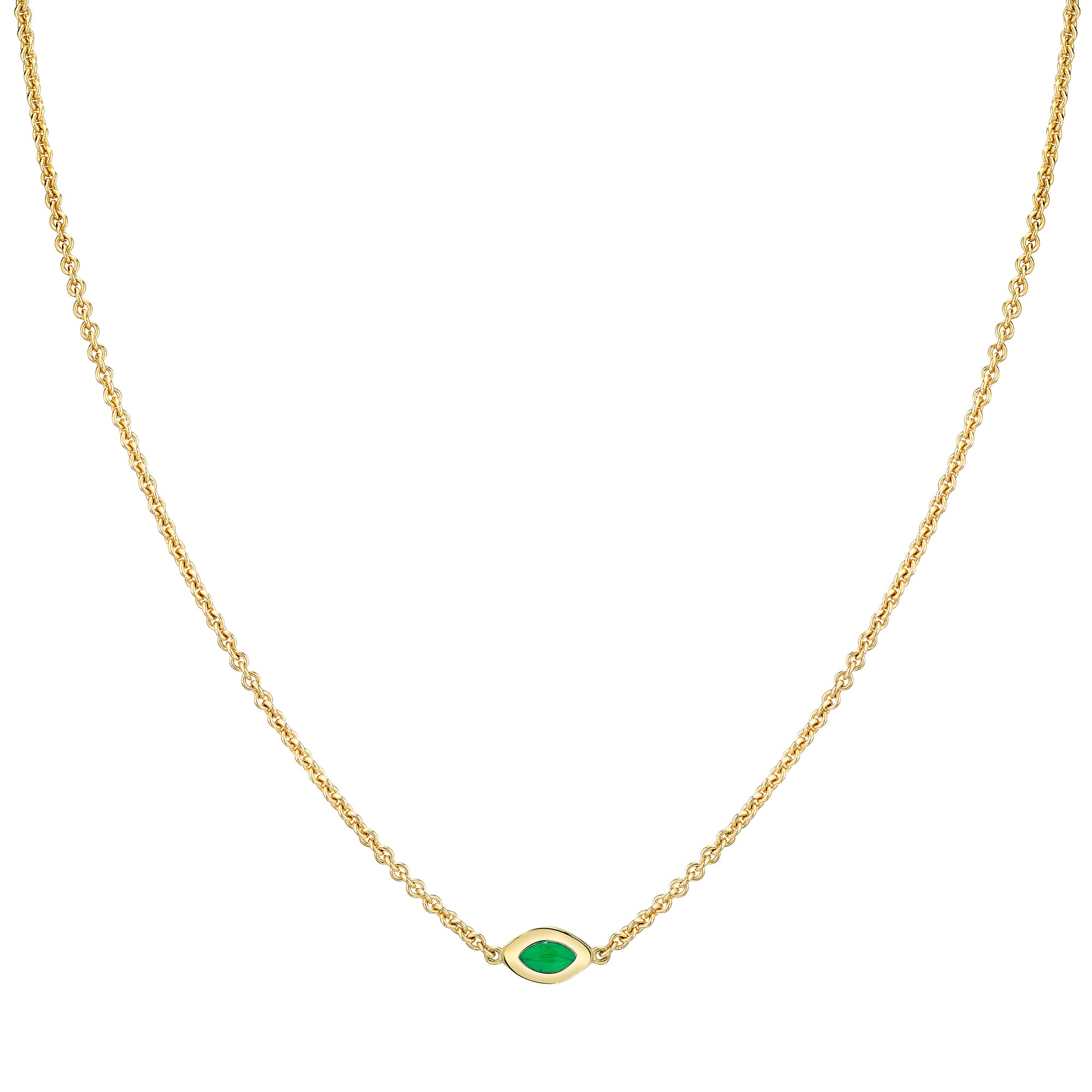 Single Link Necklace with Green Enamel - ANDY LIF Jewelry - Necklaces | Broken English Jewelry