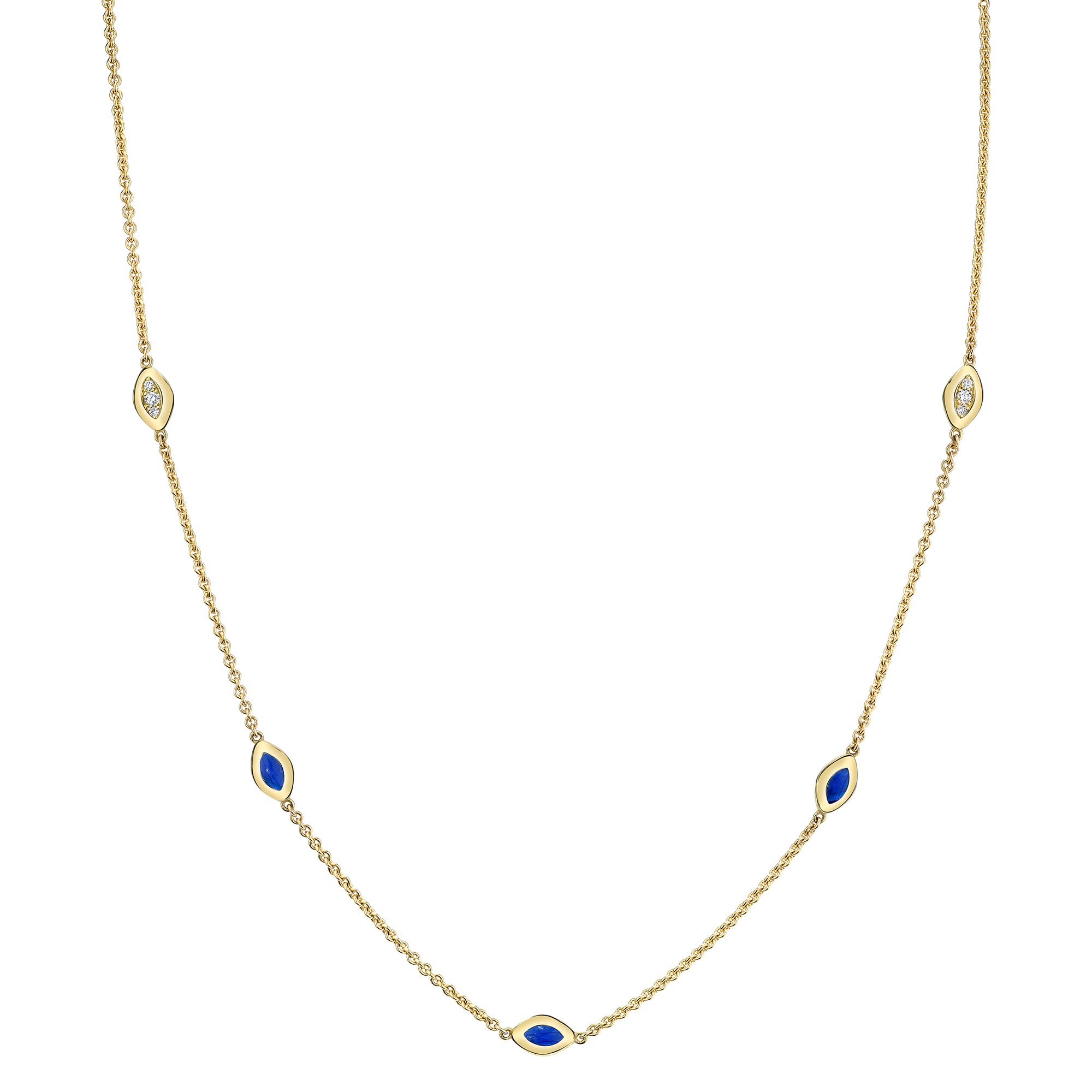 Five Link Necklace with Dia Pave and Blue Enamel - ANDY LIF Jewelry - Necklaces | Broken English Jewelry