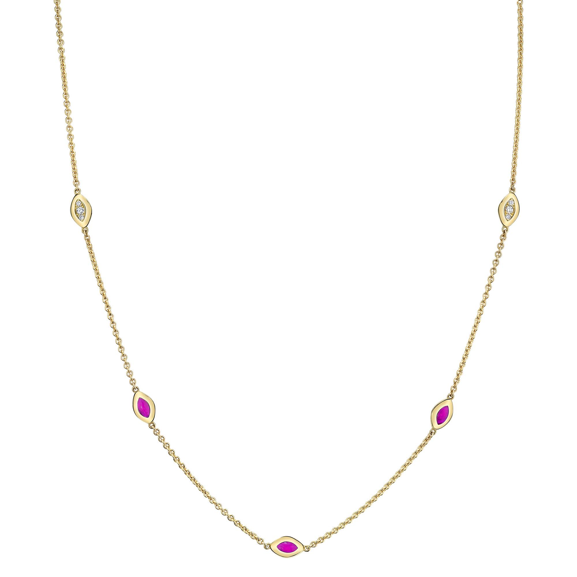 Five Link Necklace with Diamond and Purple Enamel - ANDY LIF Jewelry - Necklaces | Broken English Jewelry