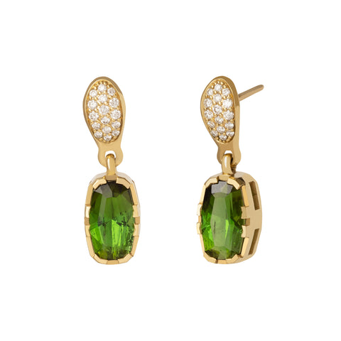 Green Tourmaline Gemstone Earrings with Diamond Pave - ANDY LIF Jewelry - Earrings | Broken English Jewelry