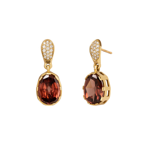 Zircon Gemstone Earrings with Diamond Pave - ANDY LIF Jewelry - Earrings | Broken English Jewelry