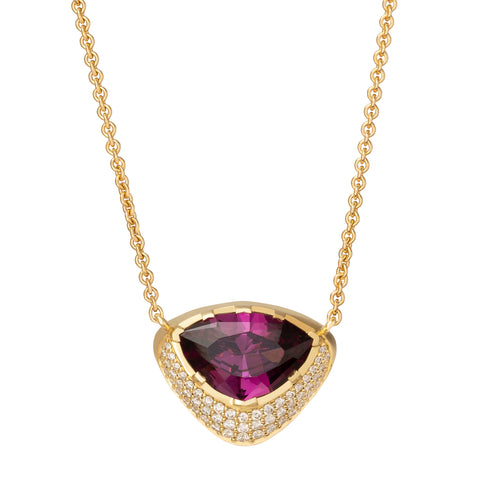 Precision Cut Garnet and Diamond Pave Necklace - ANDY LIF Jewelry - Necklaces | Broken English Jewelry