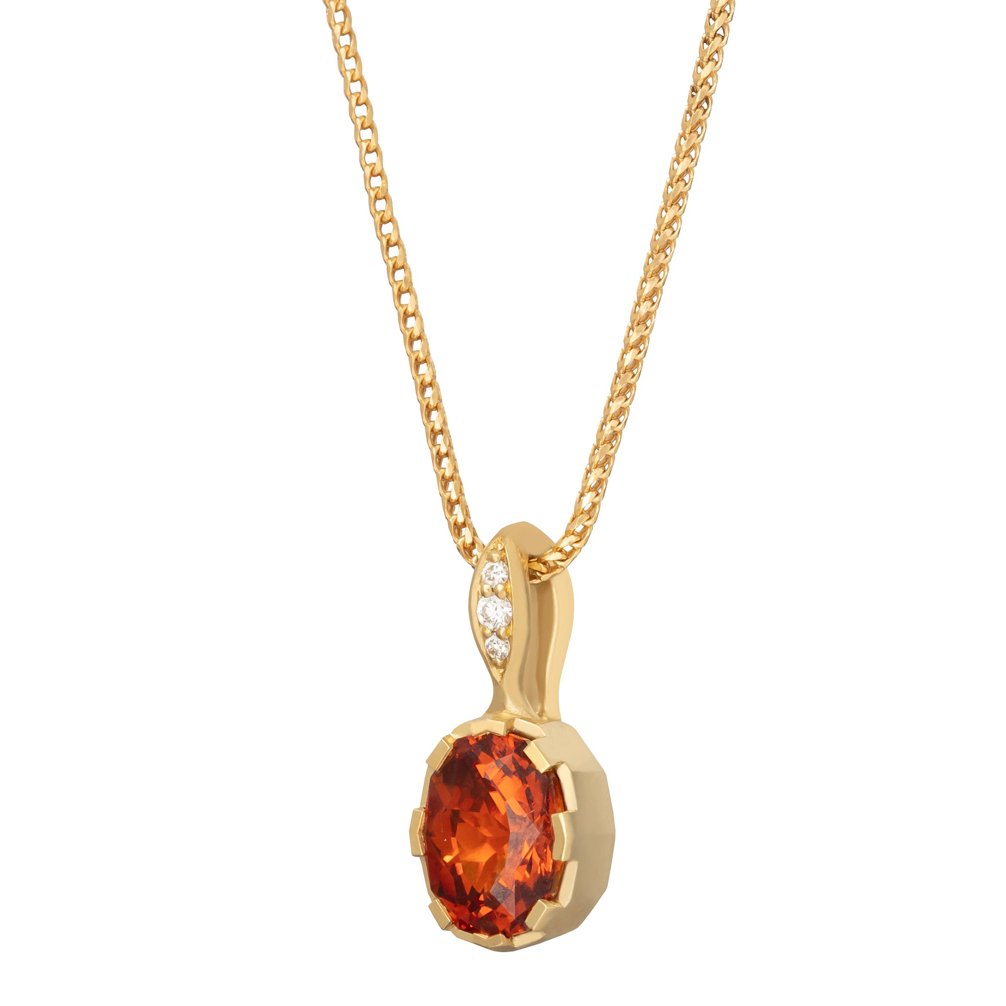 Spessartite Garnet Modern Oval Pendant Necklace - ANDY LIF Jewelry - Necklaces | Broken English Jewelry