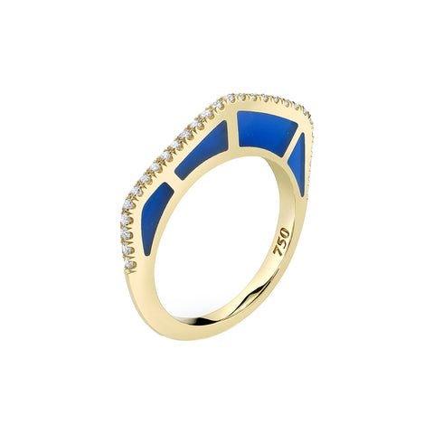 Cobra Ring with Diamond Pave and Blue Enamel - ANDY LIF Jewelry - Rings | Broken English Jewelry
