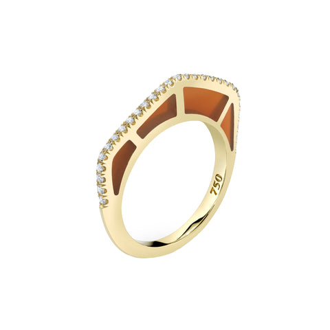 Cobra Ring with Diamond Pave and Cognac Enamel - ANDY LIF Jewelry - Rings | Broken English Jewelry