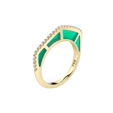 Cobra Ring with Diamond Pave and Green Enamel - ANDY LIF Jewelry - Rings | Broken English Jewelry