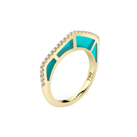 Cobra Ring with Diamond Pave and Light Blue Enamel - ANDY LIF Jewelry - Rings | Broken English Jewelry