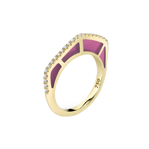 Cobra Ring with Diamond Pave and Purple Enamel - ANDY LIF Jewelry - Rings | Broken English Jewelry