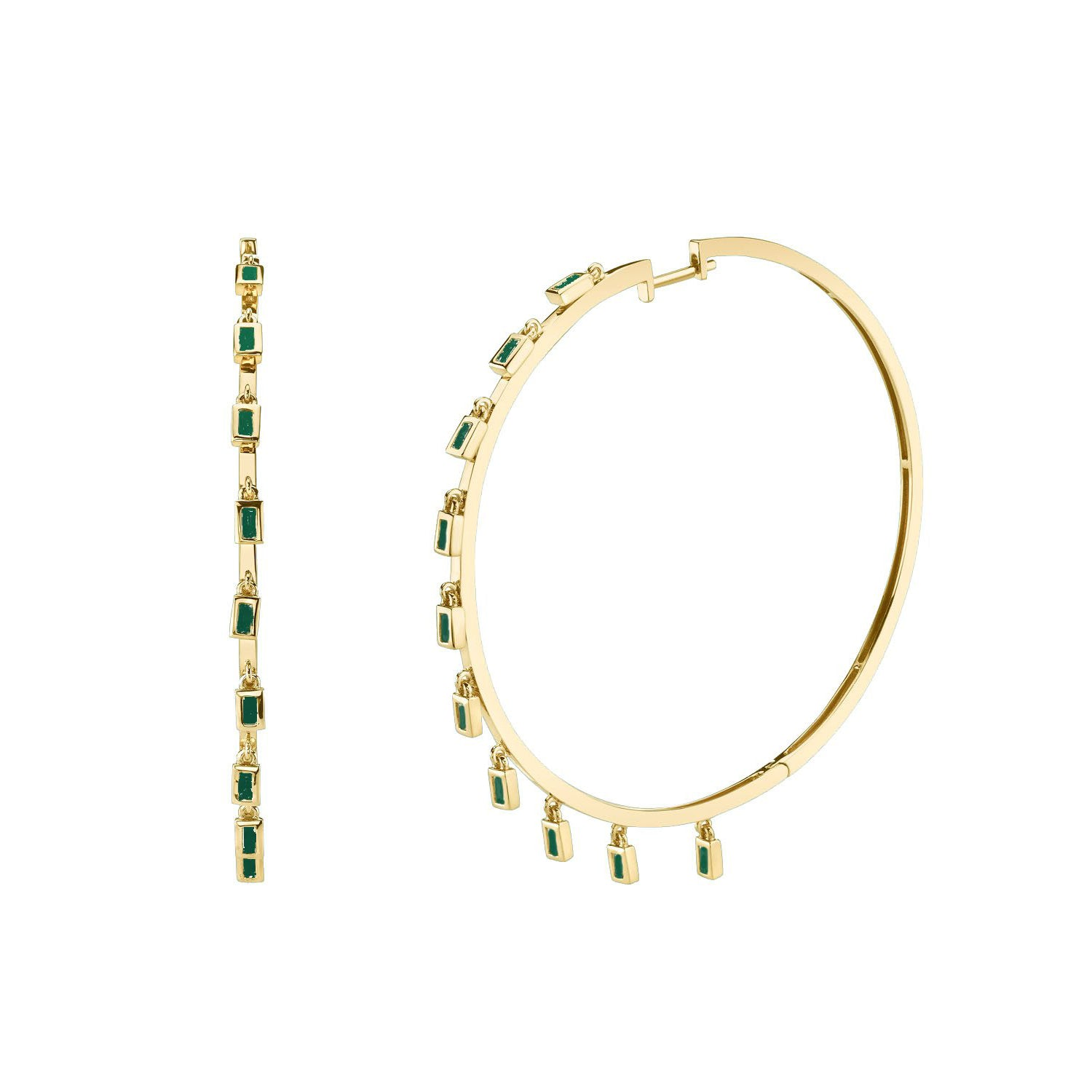 Shay Baguette Emerald Dangle Hoops - Yellow Gold - Earrings - Broken English Jewelry