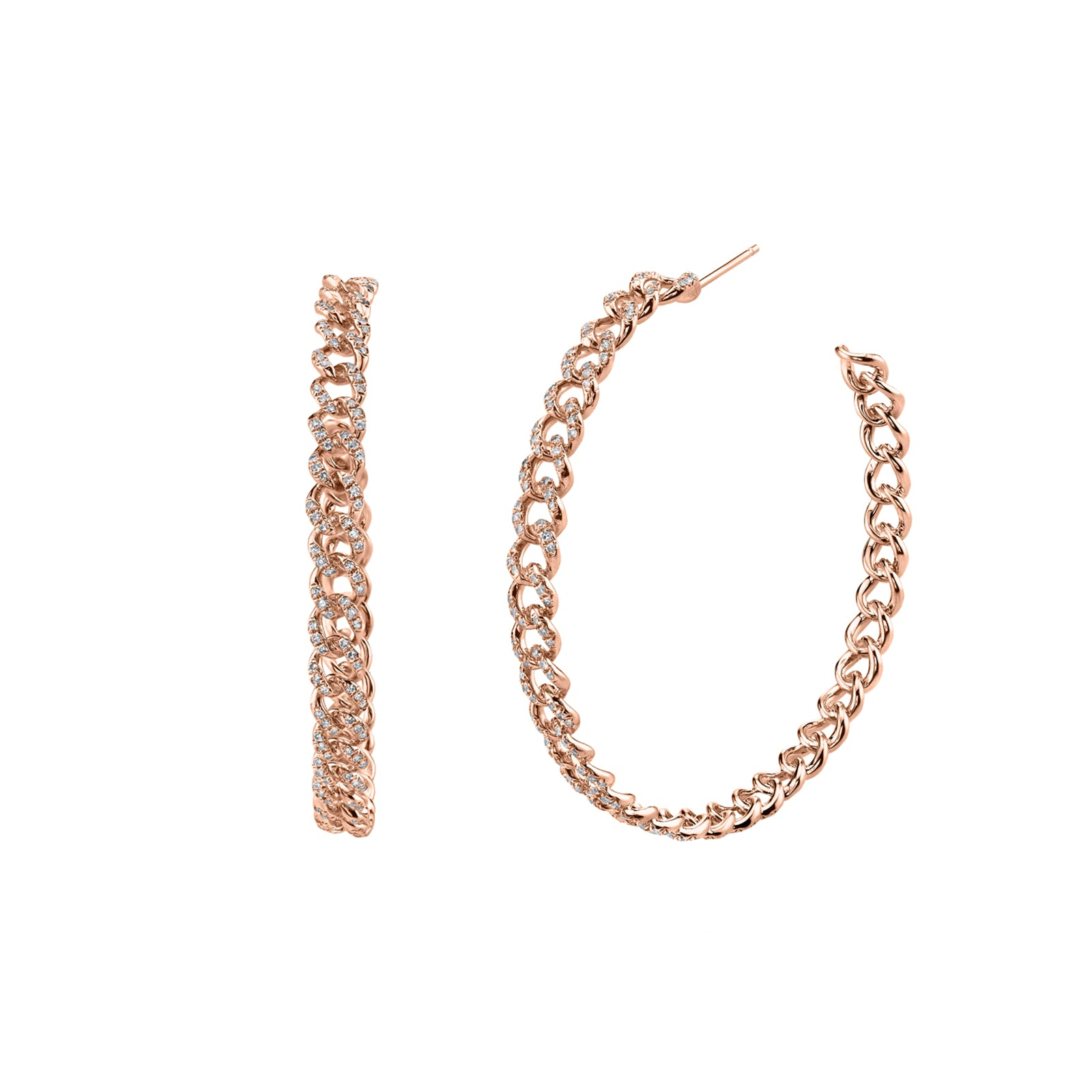 Shay Essential Diamond Link Hoops - Rose Gold - Earrings - Broken English Jewelry